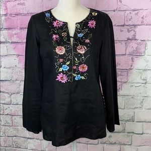 Eci New York black embroidered tunic 100% linen 10